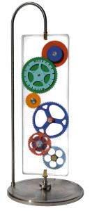 A Sculpter brings you Glass Gear Art Kinetic Sculptures for Sale by order